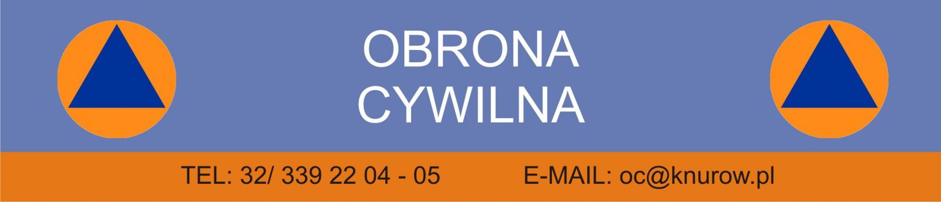 grafika zakładki Obrona Cywilna z numerem telefonu i adresem e-mail