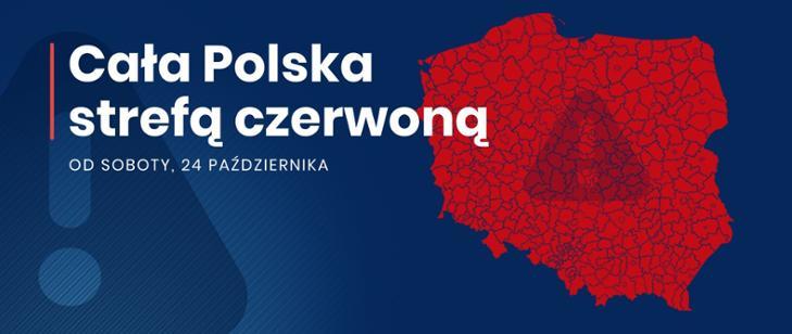 plakat zawierający symbol konturów Polski z napisem  Cała Polska strefą czerwoną od soboty 24 października