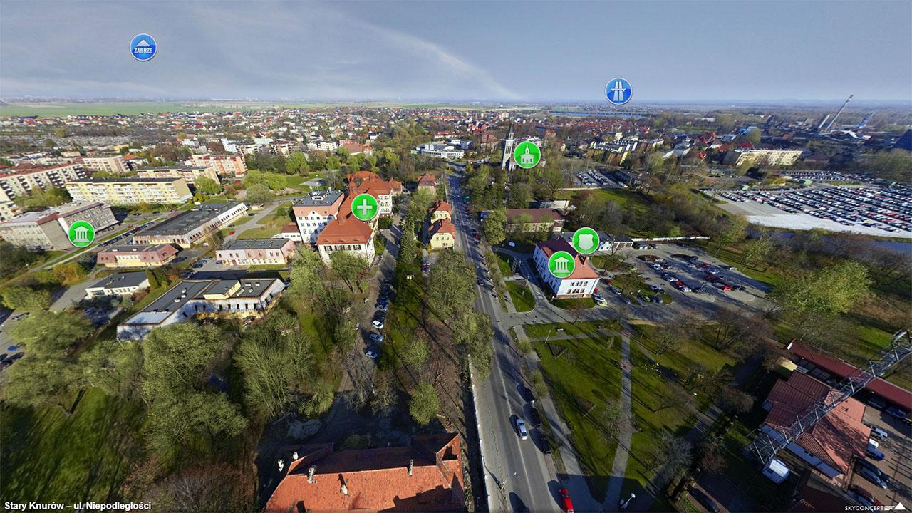 zdjęcie przedstawiające fragment DW 921 z lotu ptaka na odcinku ul.Niepodległości w Knurowie