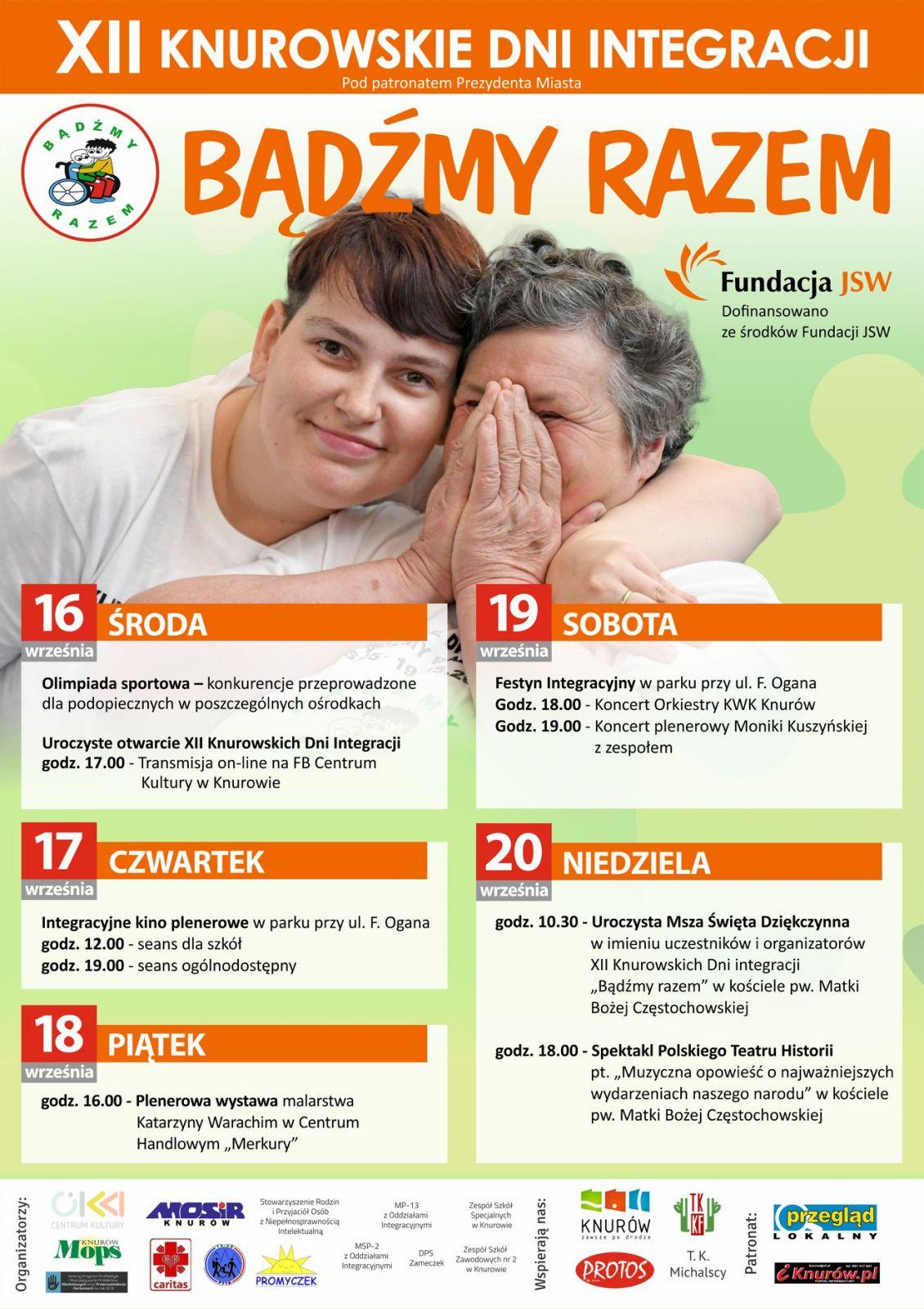Plakat przedstawiający program dwunastych Knurowskich Dni Integracji