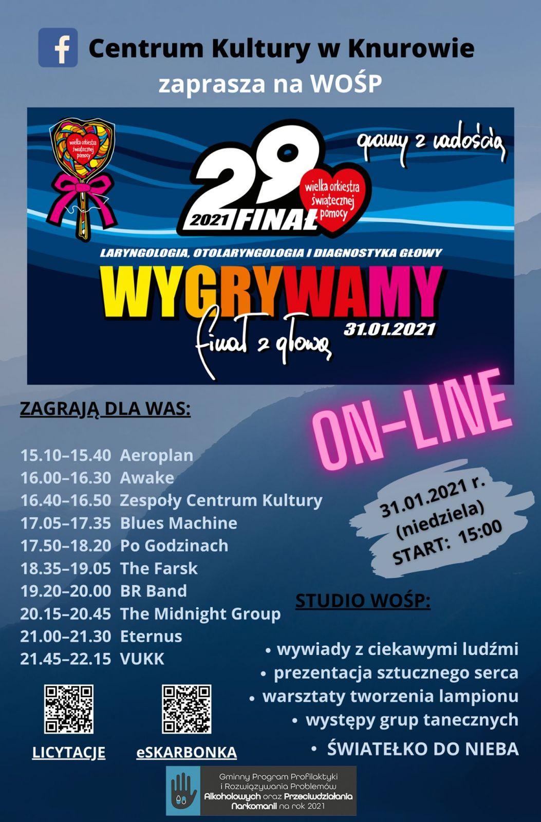 plakat dotyczący wydarzeń w Knurowie podczas 29 finału WOŚP
