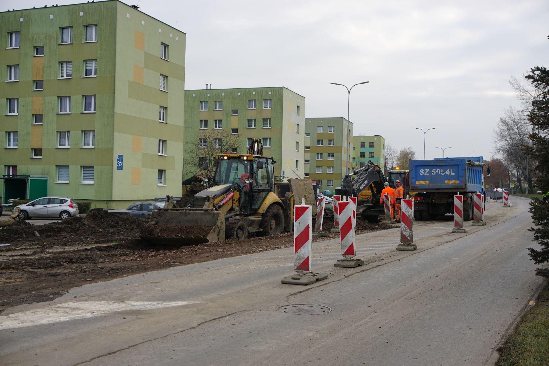 prace ziemne przy ulicy Szpitalnej