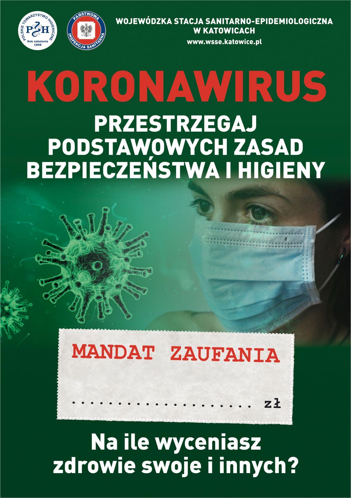 Ulotka pod hasłem Koronawirus. Przestrzegaj podstawowych zasad bezpieczeństwa i higieny