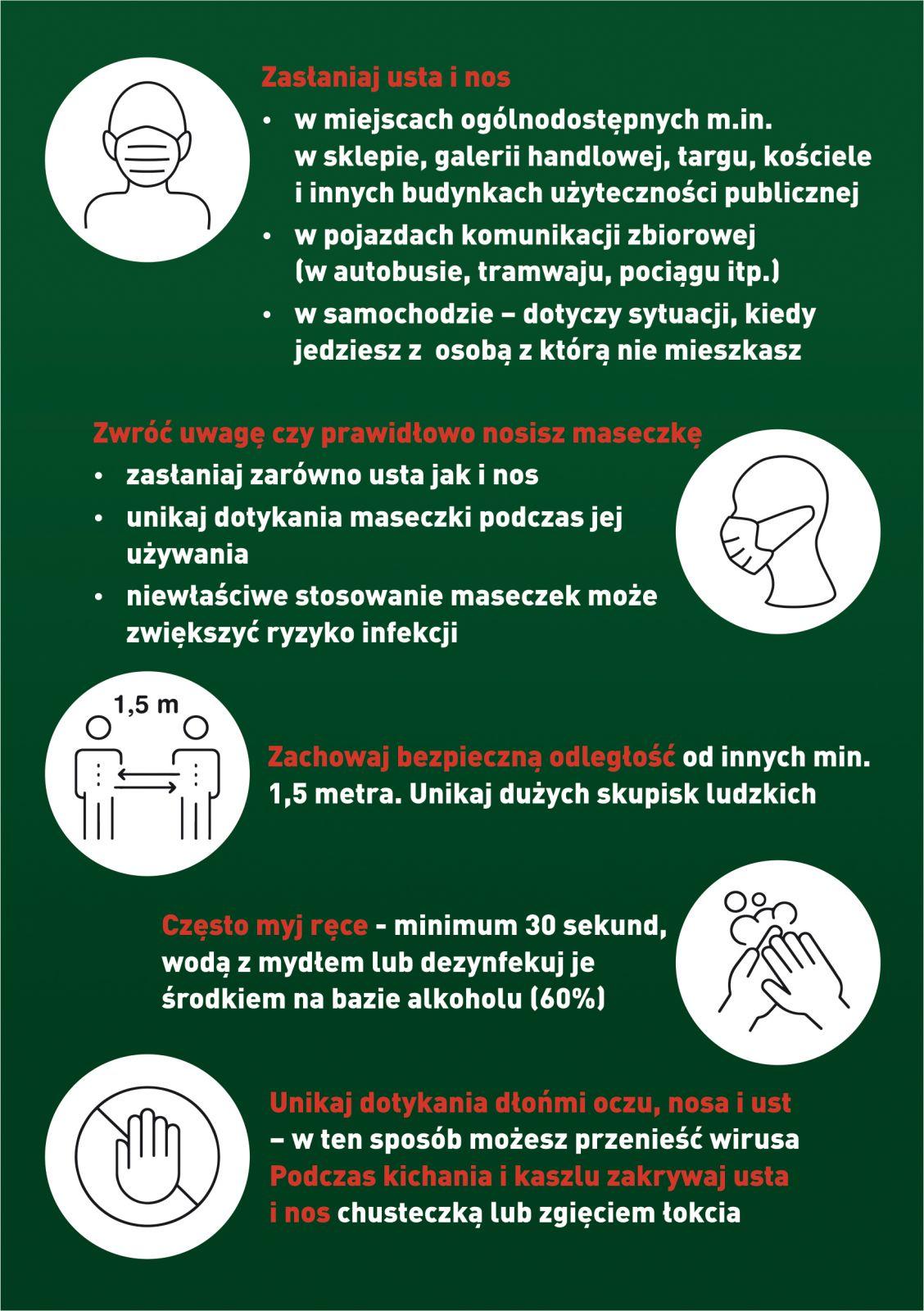 Druga strona ulotki pod hasłem Koronawirus. Przestrzegaj podstawowych zasad bezpieczeństwa i higieny