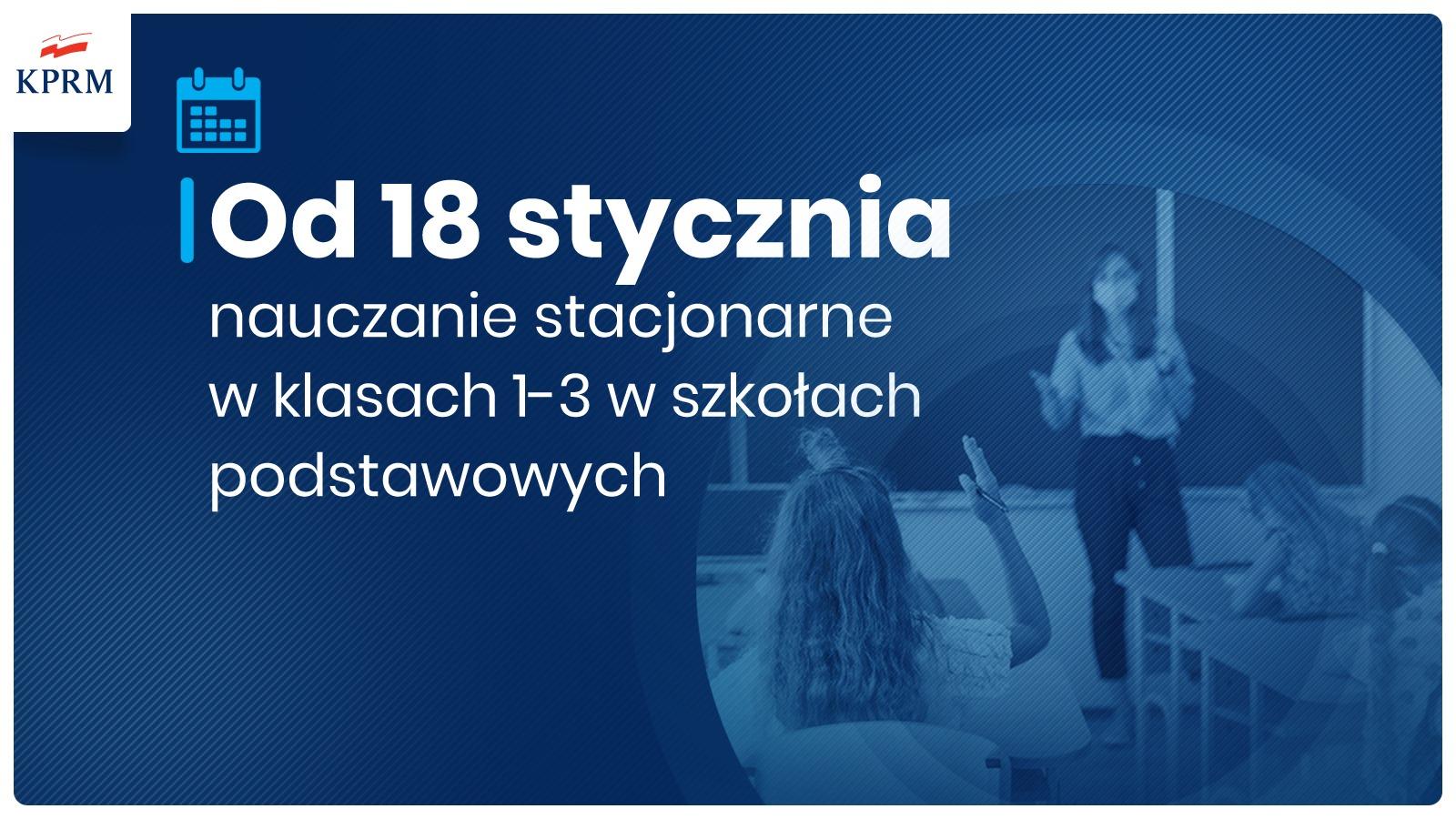 baner graficzny z informacją o powrocie dzieci klas 1-3 do nauki stacjonarnej