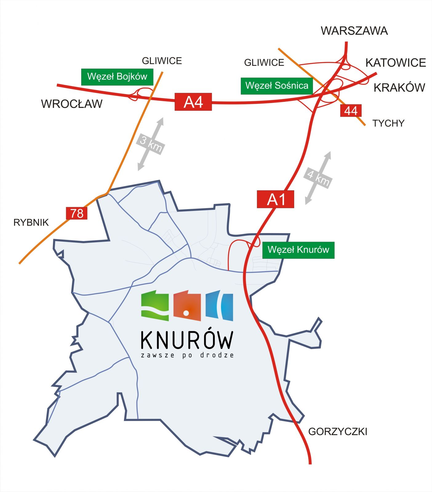 Granice Miasta Knurów z zaznaczeniem najważniejszych dróg